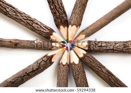 Colored original wooden pencils with wooden bark. Look like trees.