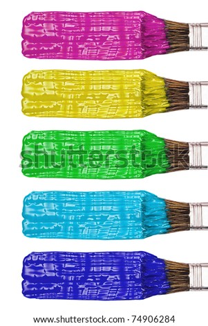 Colored paint brushes and stroke set, isolated on white