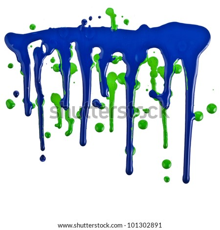Colored paint dripping isolated on white background - stock photo