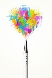 Colored paint splashes coming out of pen