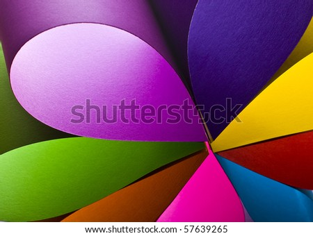 Colored paper background shaped like flower