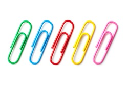 Colored paper clips close-up on a white background