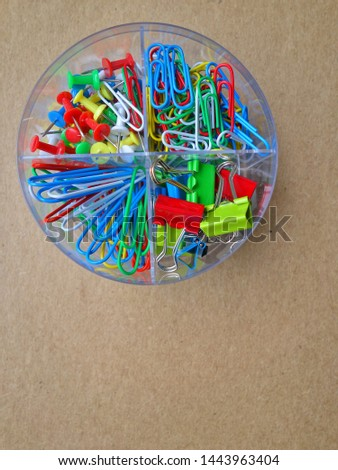 Colored paper clips, paper clips. School and office accessories