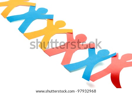 Colored paper people, isolated on white