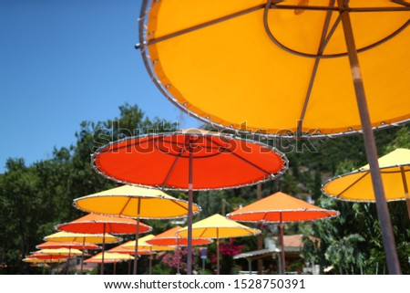 Colored parasols on the beach. #1528750391