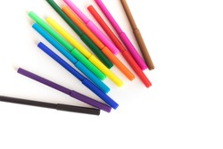 Colored pen on white background