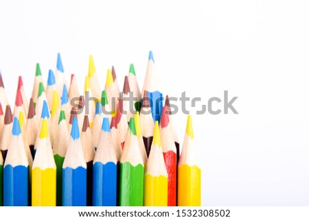 Colored pencils background.Color pencils on blue background.Close up. Many different colored pencils on blue background.Colorful pencil .Colorfull #1532308502