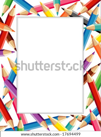 Colored Pencils Frame, colorful border with copy space for announcements, posters, scrapbooks, stationery & fliers for back to school, home and office.