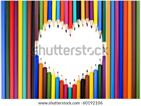 Colored pencils frame  heart shaped with copy space for text isolated on white background