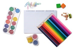 Colored pencils, grid notepad, watercolor paints, gouache, erasers, pencil sharpener, paper clips isolated on white background. School stationery.