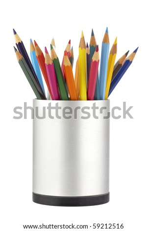 Colored pencils in a jar