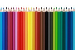 Colored pencils in a row, isolated on a white background