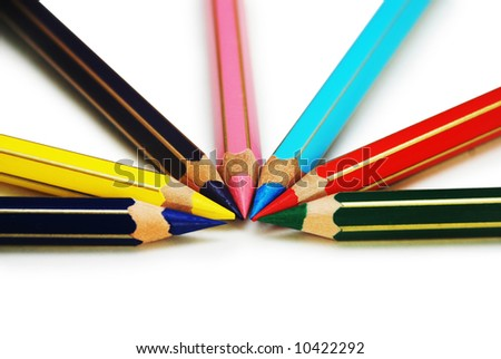 Colored pencils in circle order isolated on white