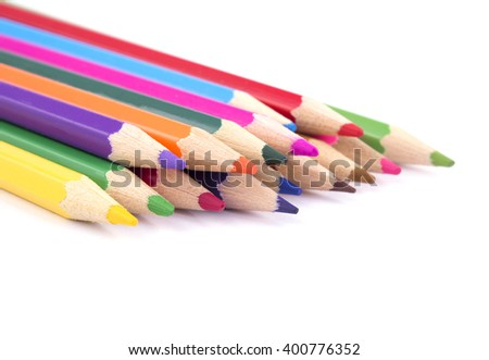 colored pencils on white background #400776352