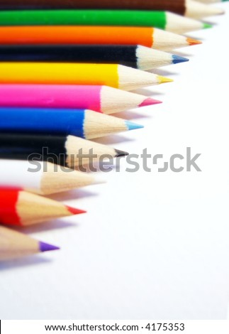 colored pencils on white background