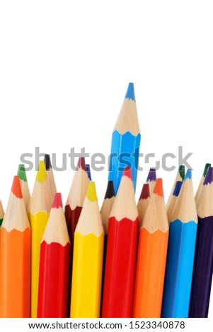 Colored pencils on white background with clipping path. Color pencils set, row wooden color pencils on white background. color pencils for drawing, seem like business graph as well.