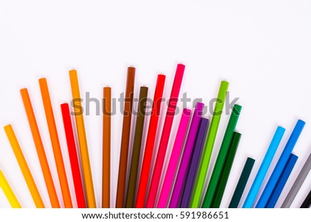 Colored pencils pattern isolated on white background #591986651