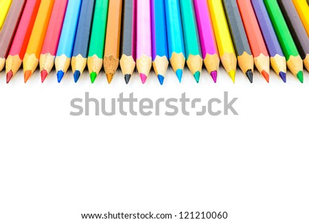 Colored pencils. The photo on the white background