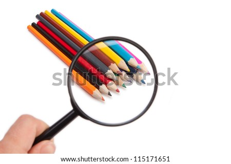 Colored pencils under the magnifying glass