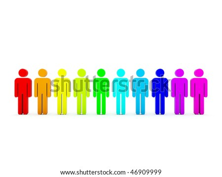 Colored peoples isolated on white