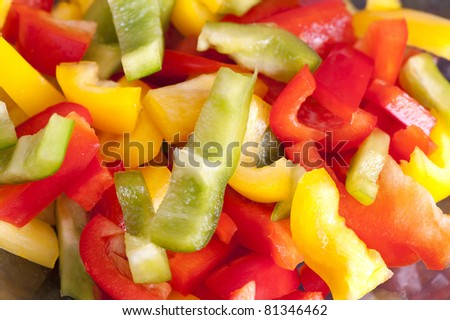 Colored Peppers mixed & chopped up