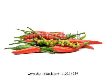 Colored peppers on a white background, close-up - stock photo