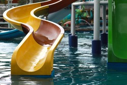 Colored plastic water slides at water park