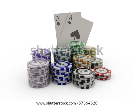 colored poker chips and double ace