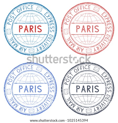 colored postmarks paris express delivery round ink stamps