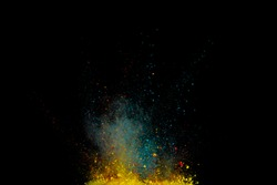 Colored powder explosion. Abstract closeup dust on backdrop. Colorful explode. Paint holid