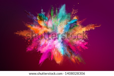 Colored powder explosion on dark gradient background. Freeze motion. #1408028306