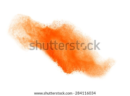 Colored powder isolated on white background close up