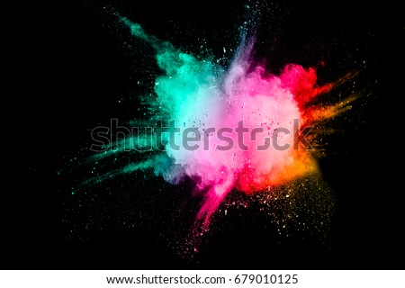Colored powder splash cloud isolated on black background