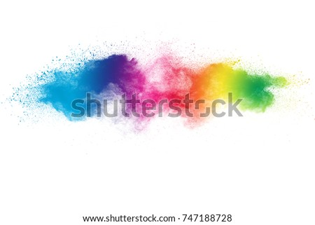 Colored powder splash cloud isolated on white background - Shutterstock ID 747188728