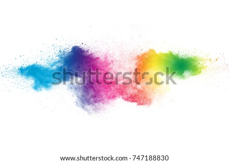 Colored powder splash cloud isolated on white background - Shutterstock ID 747188830