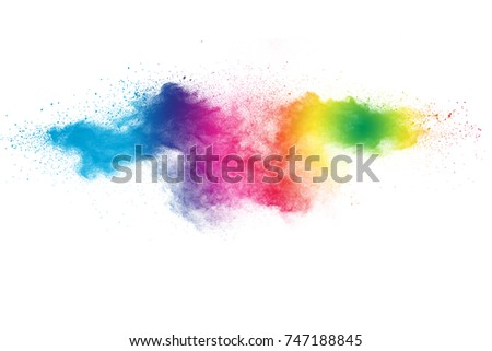 Colored powder splash cloud isolated on white background - Shutterstock ID 747188845
