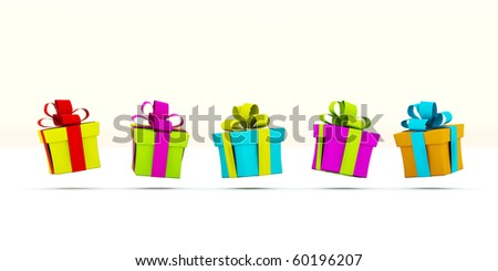 Colored presents isolated on white