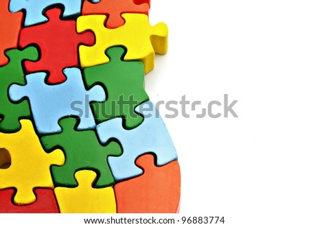 Colored puzzle pieces - stock photo