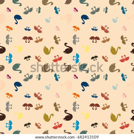 Colored random seamless pattern with birds swan.
