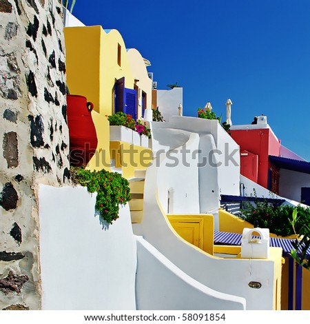colored Santorini, resorts of Fira