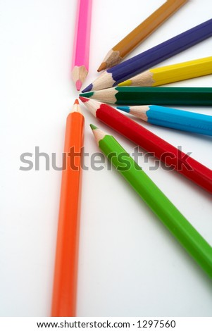 Colored school pencils closeup