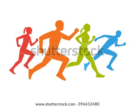 Colored silhouettes of runners. Flat figures marathoner. Flat running symbol. Running and marathon logo. Flat shapes runners.