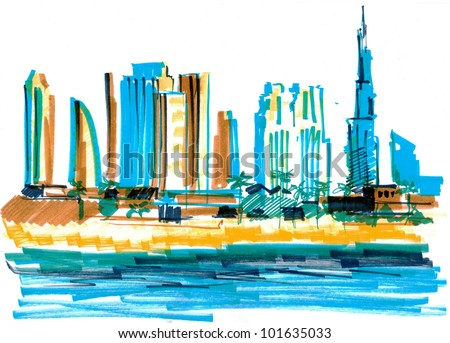 Colored sketch of a skyline of modern buildings in Dubai, UAE