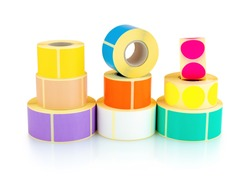 Colored square and circle label rolls isolated on white background with shadow reflection - clipping path. Color reels of labels for printers. Labels for direct thermal or thermal transfer printing.