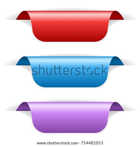 Colored sticker labels with transparent shadow. 3d illustration isolated on white background. Raster version
