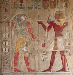 colored stone relief at Deir el-Bahri in Egypt