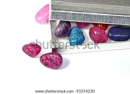 colored stones in the gift box
