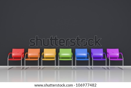 Colored stools in the waiting room