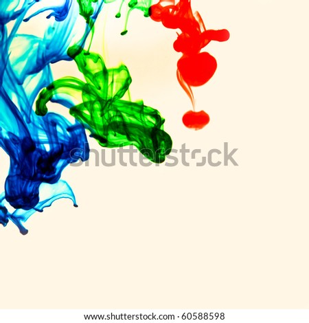 Colored Swirls.  Blue, Green and Red over White