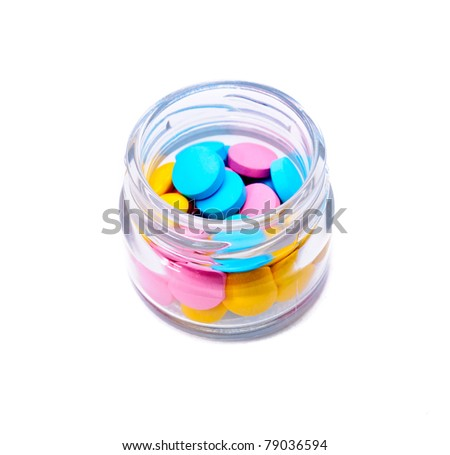 Colored tablets. Isolated on white background